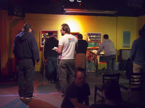 People playing the classics machines. (pic by Eric)