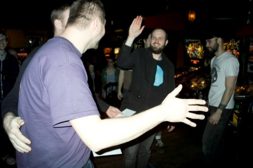 And then it was over and everyone was high fiving and victory-slapping dudes on the butts. (pic by rom)